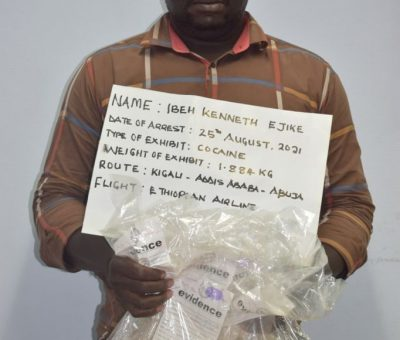 NDLEA Arrests Kingpin With Ingested 87 Wraps Of Cocaine, Seizes 400.37kg Illicit Drugs